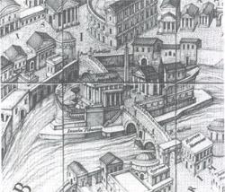 L'Isola Tiberina in un'antica carta di Roma, di Stefano Pérac. Al centro, il Tempio di Esculapio a forma di battello. Roma, Biblioteca Casanatense