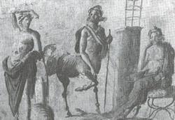 Da sinistra, Apollo, il centauro Chirone ed Esculapio, in un affresco di Pompei conservato a Napoli, nel Museo Archeologico Nazionale