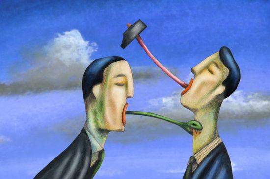 Men quarreling --- Image by © Alberto Ruggieri/Illustration Works/Corbis
