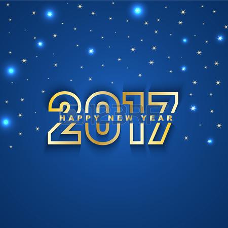 44848924-2017-nouvel-an-carte-de-voeux-avec-des-etoiles-et-des-spots-sur-fond-bleu